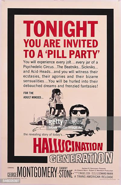 A poster for the TransAmerican film 'Hallucination Generation' with the tagline 'Tonight you are invited to a pill party' 1966