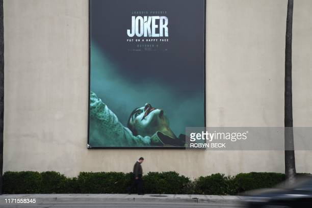 TOPSHOT A poster for the upcoming film The Joker is seen outside Warner Brothers Studios in Burbank California September 27 2019 The Los Angeles...