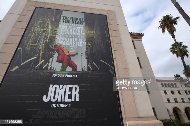 A poster for the upcoming film The Joker is seen outside Warner Brothers Studios in Burbank California September 27 2019 The Los Angeles Police...