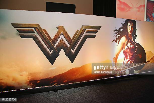 Poster for the upcoming Wonder Woman movie is displayed in the Warner Bros. Booth at the Licensing Expo 2016 at the Mandalay Bay Convention Center on...
