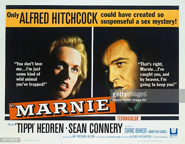 A poster for the US release of Alfred Hitchcock's 1964 psychological thriller 'Marnie' starring Tippi Hedren and Sean Connery