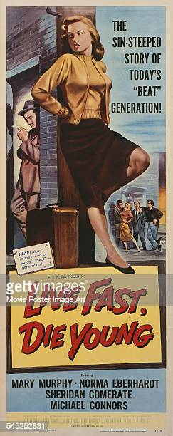 A poster for the US release of Paul Henreid's 1958 drama 'Live Fast Die Young' featuring Norma Eberhardt