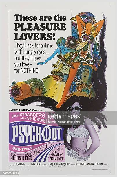 A poster for the US release of Richard Rush's 1968 psychedelic drama 'PsychOut' featuring Susan Strasberg