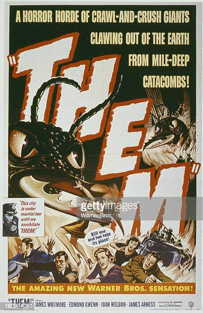 A poster for the Warner Bros film 'Them' featuring giant mutant killer ants 1954