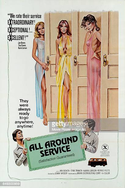 Image contains suggestive contentA poster for the West German pornographic film 'All Around Service' with the tagline 'They were always ready to go...