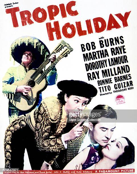 A poster for Theodore Reed's 1938 musical 'Tropic Holiday' featuring Martha Raye Ray Milland and Dorothy Lamour