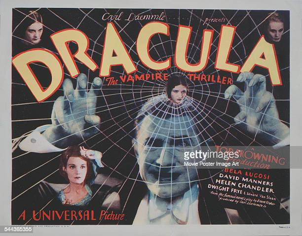 A poster for Tod Browning's 1931 horror film 'Dracula' starring Bela Lugosi and Helen Chandler