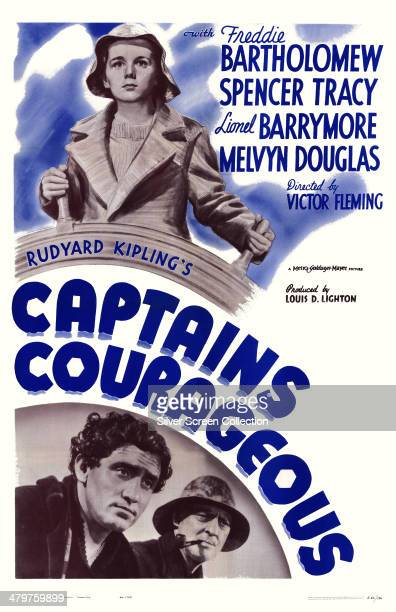 A poster for Victor Fleming's 1937 adventure film 'Captains Courageous' starring Freddie Bartholomew Spencer Tracy and Lionel Barrymore
