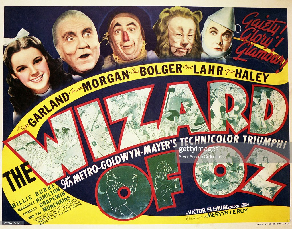 A poster for Victor Fleming's 1939 musical fantasy 'The Wizard Of Oz', starring (left to right) Judy Garland, Frank Morgan, Ray Bolger, Bert Lahr and Jack Haley.