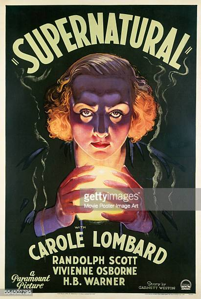 A poster for Victor Halperin's 1933 horror film 'Supernatural' starring Carole Lombard