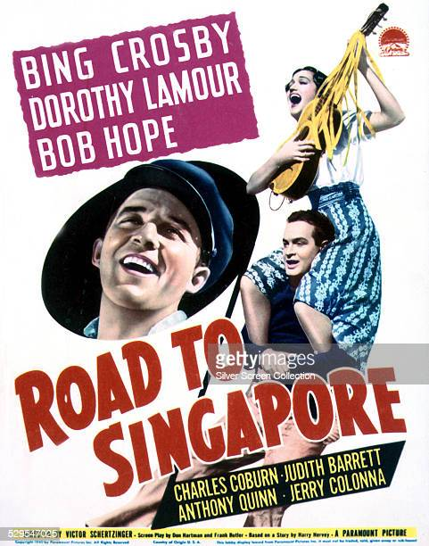 A poster for Victor Schertzinger's 1940 comedy 'Road To Singapore' starring Bing Crosby Bob Hope and Dorothy Lamour