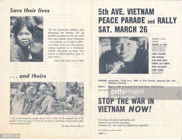 Poster for Vietnam Piece Parade on 5th avenue in New York City New York with speakers including Giorgio La Pira and Linus Pauling against the Vietnam...