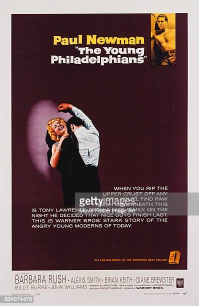 A poster for Vincent Sherman's 1959 drama film 'The Young Philadelphians' starring Paul Newman and Barbara Rush