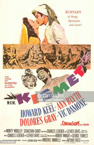 A poster for Vincente Minnelli's 1955 musical film 'Kismet' starring Ann Blyth and Vic Damone Dolores Gray and Howard Keel