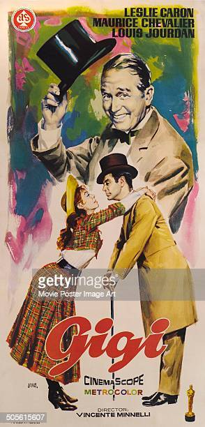 A poster for Vincente Minnelli's 1958 comedy 'Gigi' starring Leslie Caron Maurice Chevalier and Louis Jourdan