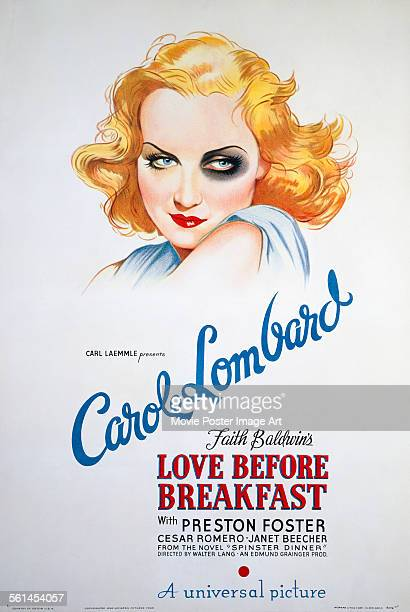 A poster for Walter Lang's 1936 comedy 'Love Before Breakfast' starring Carole Lombard