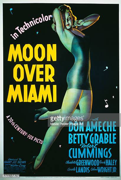A poster for Walter Lang's 1941 comedy 'Moon Over Miami' starring Betty Grable
