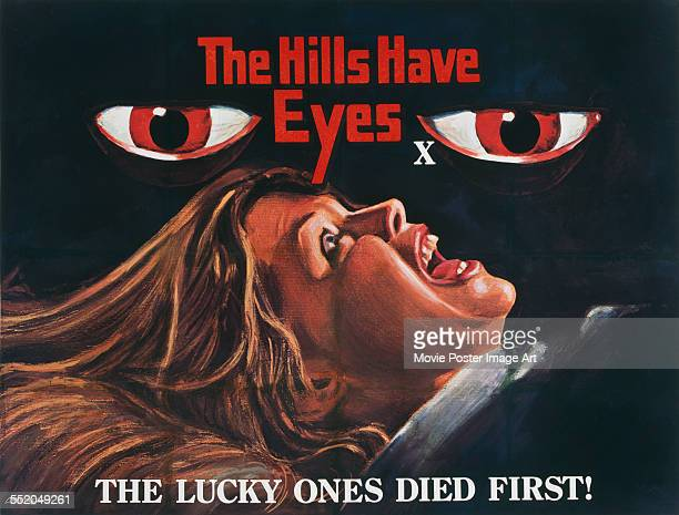 A poster for Wes Craven's 1977 horror film 'The Hills Have Eyes' starring Suze LanierBramlett