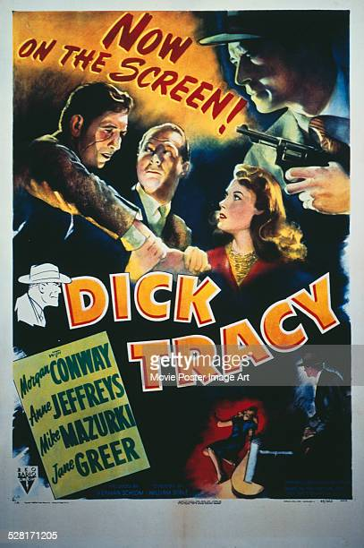 A poster for William Berke's 1945 crime film 'Dick Tracy' starring Morgan Conway and Mike Mazurki