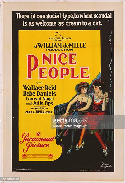 A poster for William C de Mille's 1922 comedy 'Nice People'