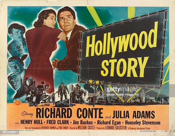 A poster for William Castle's 1951 drama 'Hollywood Story' starring Richard Conte and Julie Adams