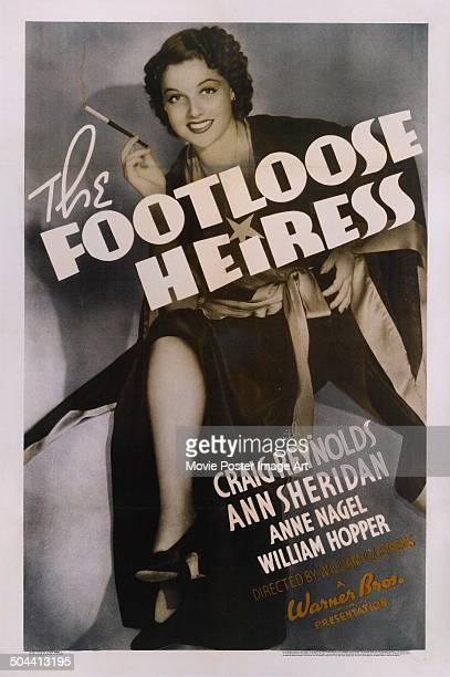 A poster for William Clemens' 1937 romantic film 'The Footloose Heiress' starring Ann Sheridan