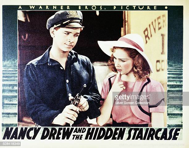 A poster for William Clemens's 1939 mystery film 'Nancy Drew and the Hidden Staircase' starring Bonita Granville and Frankie Thomas