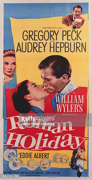 A poster for William Wyler's 1953 comedy film 'Roman Holiday' starring Gregory Peck and Audrey Hepburn