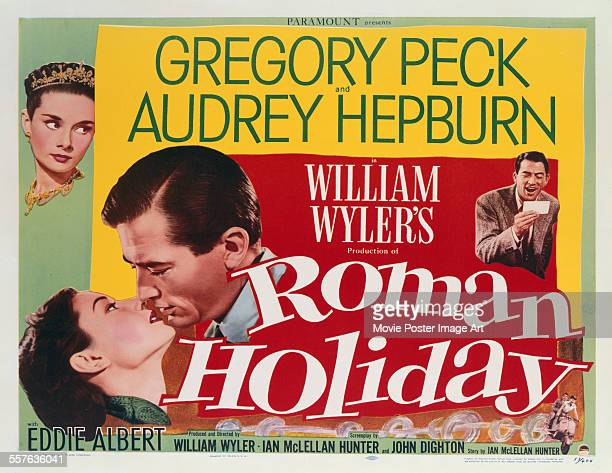 A poster for William Wyler's 1953 comedy 'Roman Holiday' starring Gregory Peck and Audrey Hepburn
