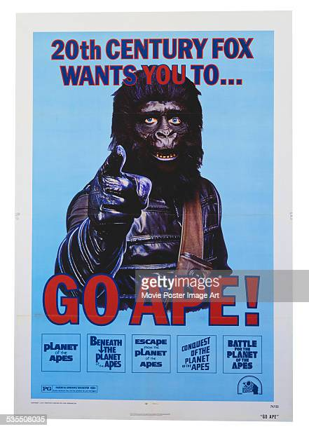 A poster from 20th Century Fox for the science fiction films 'Planet of the Apes' 'Beneath the Planet of the Apes' 'Escape from the Planet of the...