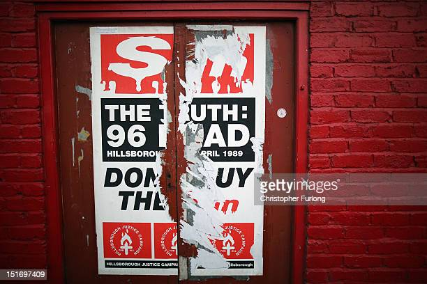 A poster from of the Hillsborough Justice Campaign is pasted to a wall near Anfield stadium home of Liverpool Football Club on September 10 2012 in...