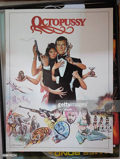 A poster from the movie Octopussy is displayed during a James Bond memorabilia auction on November 25 2015 in StocktononTees England Around 700 lots...