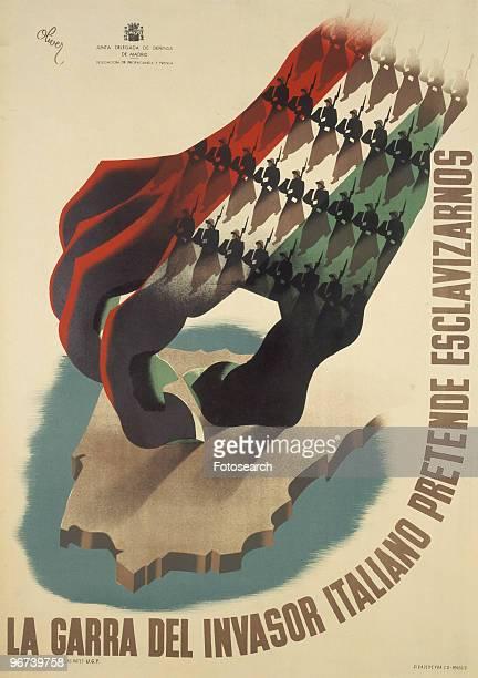 Poster from the Spanish Civil War issued by the Junta Delegada de Defensa de Madrid with the caption 'La Garra del Invasor Italiano Pretende...