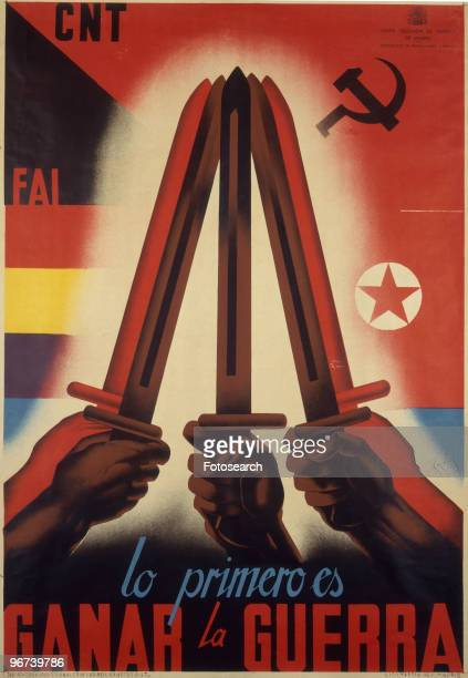Poster from the Spanish Civil War issued by the Junta Delegada de Defensa de Madrid with the caption 'Lo Primero es Ganar la Guerra' circa 1937