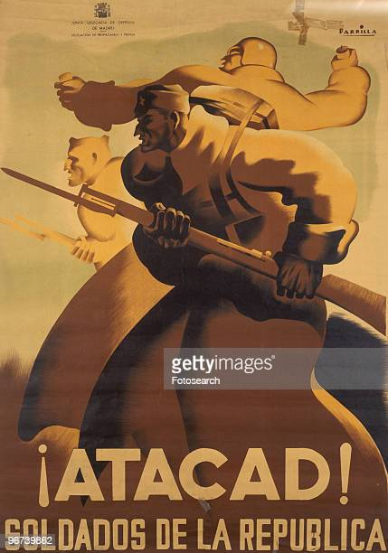 Poster from the Spanish Civil War issued by the Junta Delegada de Defensa de Madrid with the caption '¡Atacad Soldaros de la Republica' circa 1937