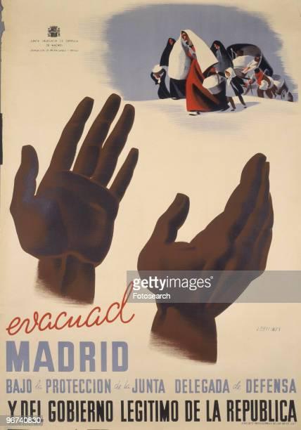 Poster from the Spanish Civil War issued by the Junta Delegada de Defensa de Madrid with the caption ' Madrid Bajo la Proteccion de la Junta Delegada...