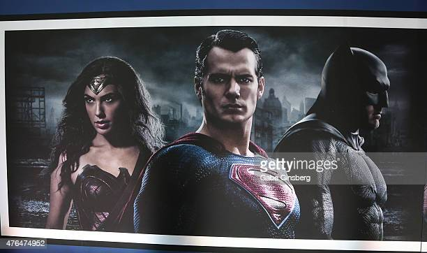 A poster from the upcoming movie 'Batman v Superman Dawn of Justice' are displayed during the Licensing Expo 2015 at the Mandalay Bay Convention...