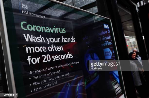 Poster gives out coronavirus handwashing advice at a bus stop in the Bloomsbury district of London, England, on March 19, 2020. Amid the ongoing...