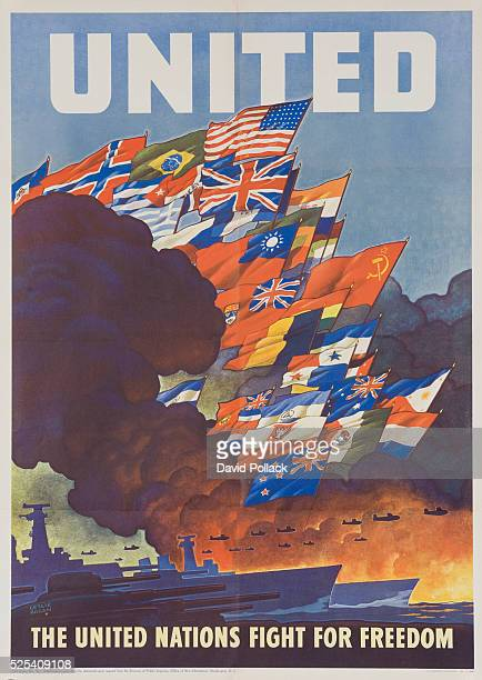 1943 poster illustrated by Leslie Ragan showing fleet of ships under flags of United Nations