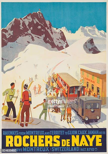1924 poster illustrated by Otto Ernst trainload of happy skiers disembark at Rochers de Naye above Montreux altitude 6710 ft