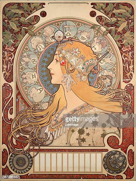 Poster illustration by Alphonse Mucha for 'La plume' review 1896 Private collection'