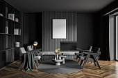 poster dark grey living room with