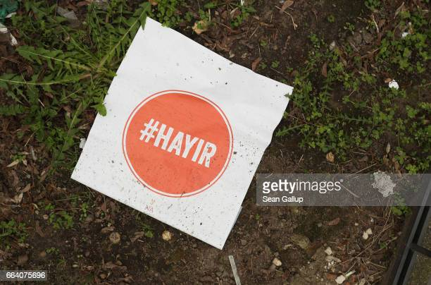 A poster in Turkish urging 'no' in reference to the upcoming referendum in Turkey lies in a park on April 3 2017 in Berlin Germany While the...