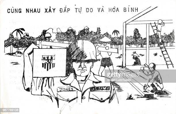 Poster in Vietnamese with caricature of US Army soldier building an encampment in the jungle during the Vietnam War 1967