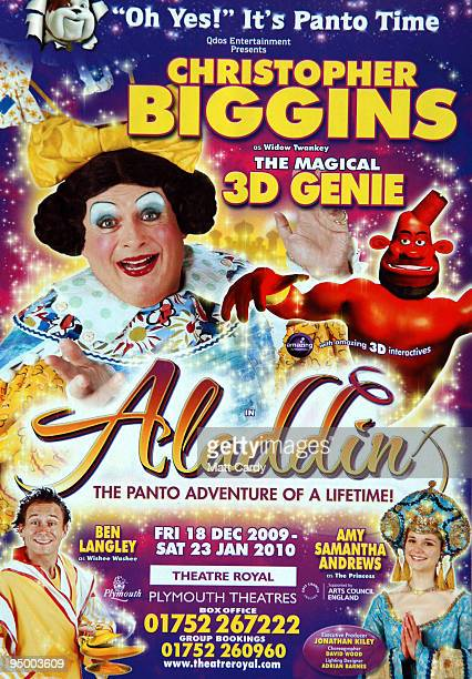 A poster is displayed as Christopher Biggins prepares for his role as panto dame Widow Twankey at the Theatre Royal Plymouth's production of Aladdin...