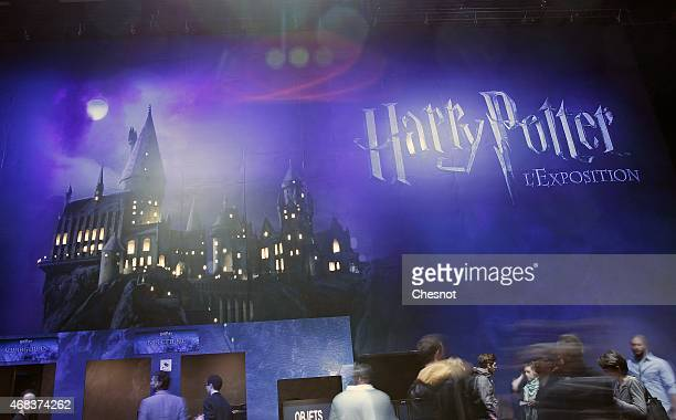 A poster is displayed during an exhibition on the literary characters and themes of the Harry Potter novels at the Cite Du Cinema on April 2 in...