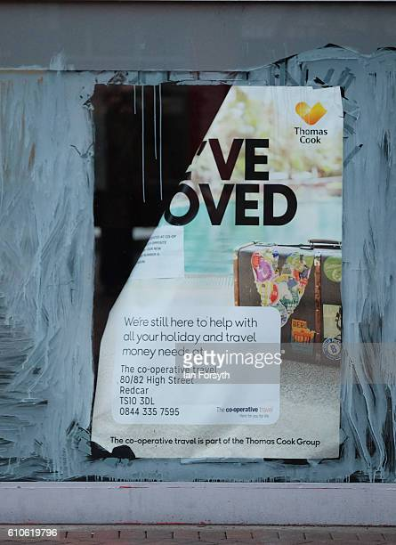 A poster is displayed in a high street shop window on September 27 2016 in Redcar United Kingdom One year on since the SSI steel making plant at...