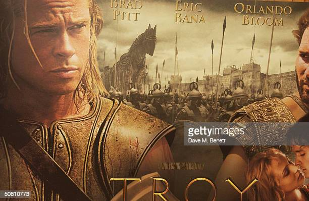A Poster is seen at the photocall promoting new epic movie 'Troy' at The Dorchester Hotel on May 7 2004 in London Troy has it's European premiere in...