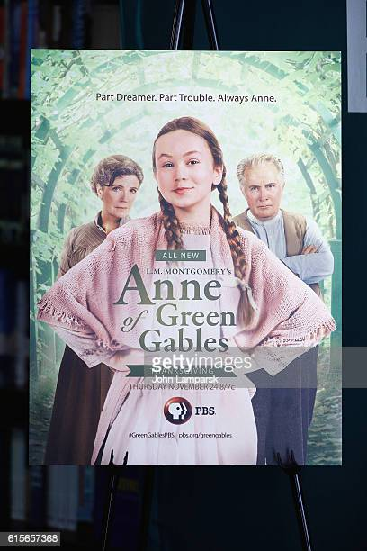 A poster is seen during the 'Anne Of Green Gables' reading at Barnes Noble Union Square on October 19 2016 in New York City