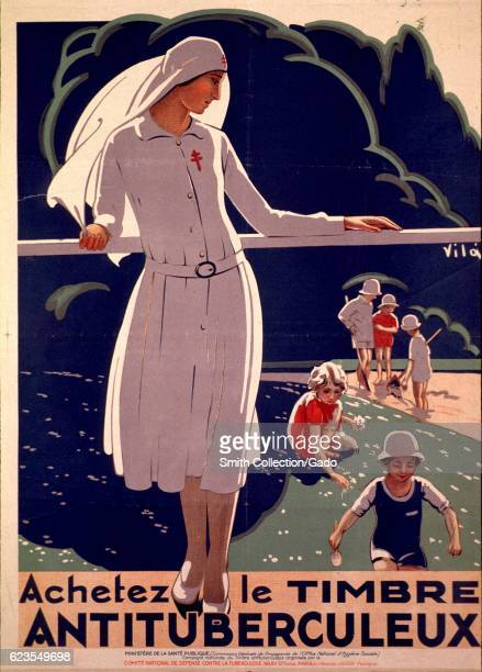 Poster issued by French government showing a nurse looking over her shoulder at children playing outdoors advocating for people to buy...